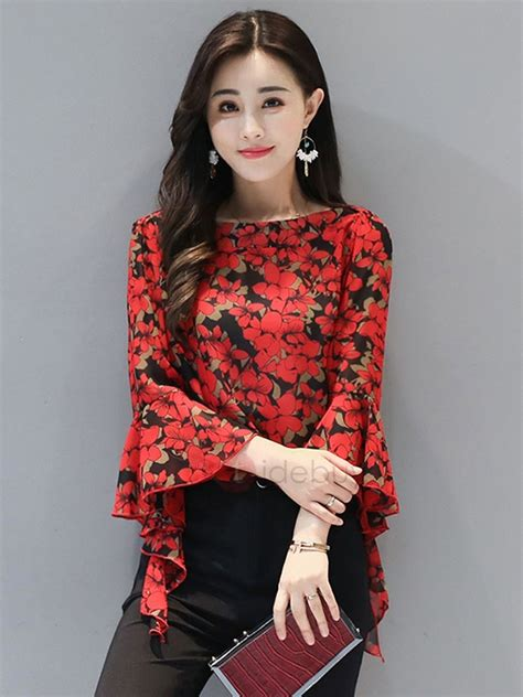 Sleeve Print Blouse chiffon print bell sleeve blouse tidebuy