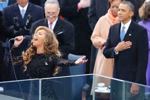 beyonce is in awe of michelle obama abc news obama listens as beyonce sings national anthem abc news