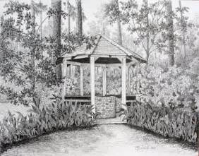Drawing Of Garden the well at bayou gardens by colleen marquis