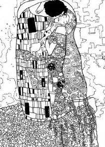 coloring page gustav klimt the kiss 1