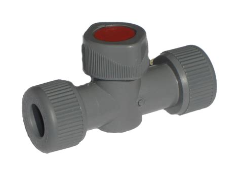 Push Fit Valves Plumbing pipeplus 15mm grey push fit shut valve with pipe inserts