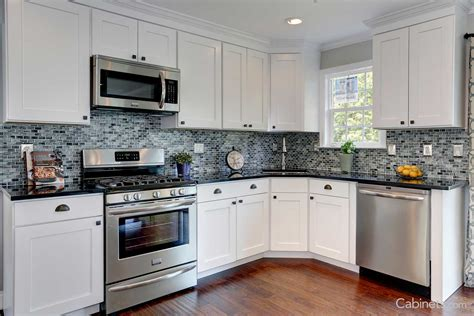 For White Kitchen Cabinets L Shaped Used Backsplash Pictures Kitchen Cabinets