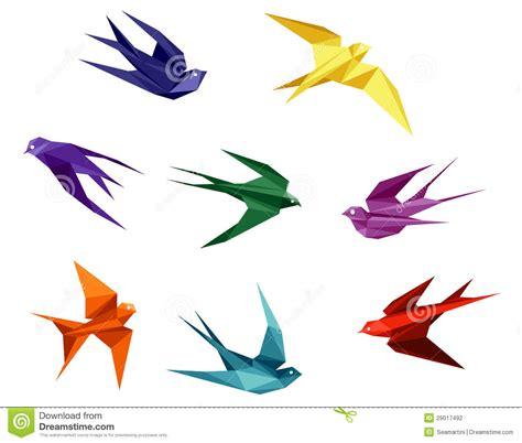 Doing Origami - andorinhas no estilo do origami fotografia de stock