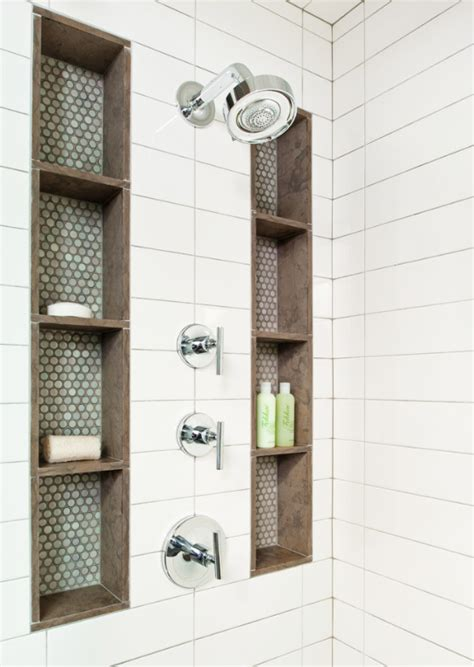 brown subway tile bathroom tall shower niches blue brown and subway tile