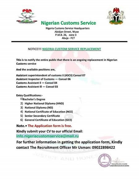 Employment Letter Nigeria Warning Fraudsters Now Use Forged Nigeria Custom Letterhead On Unsuspecting Applicants See