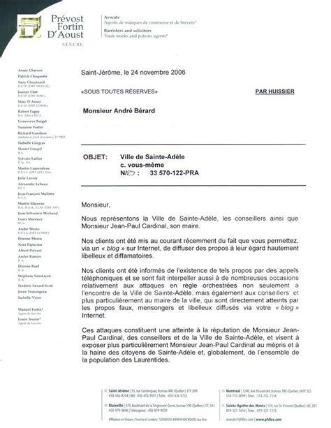 Exemple De Lettre De Mise En Demeure Pour Nuisance Modele Mise En Demeure Atteinte A La Reputation Document