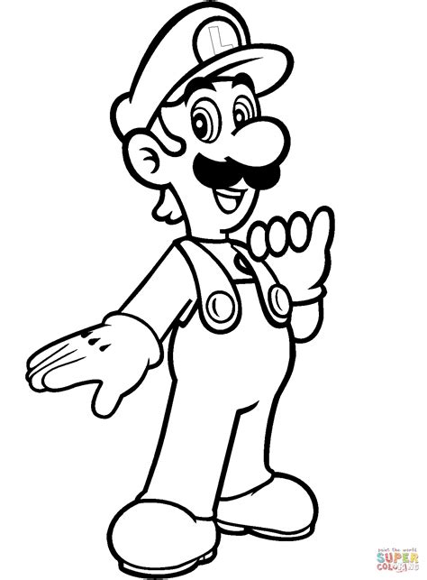 luigi from mario bros coloring page free printable