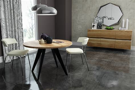 table ronde chene table a manger ronde en chene massif enkel collection nuxe
