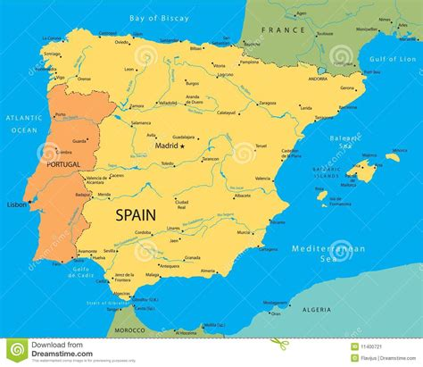 spain and portugal map vector map of spain stock vector illustration of portugal