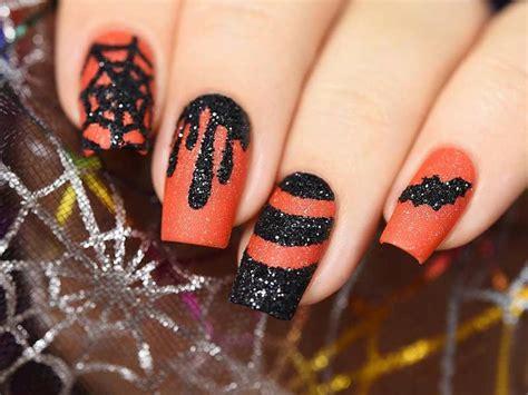 easy nail art orange and black 21 halloween nail art ideas to scare them all