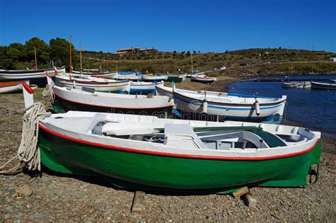 fishing boat is spanish traditional spanish fishing boats on the beach stock photo