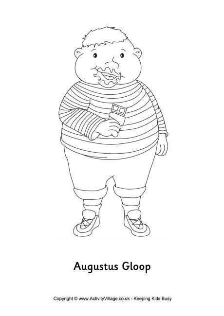 augustus gloop colouring page