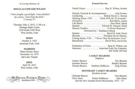 funeral program template word free funeral order of service template sle templatex1234