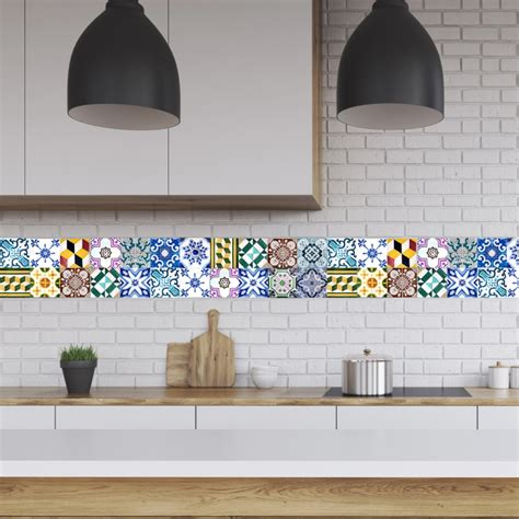 Kitchen Backsplash Decals Portugal Tiles Stickers Wels Set Of 16 Tile Decals For Backsplash Bathroom Kitchen Home