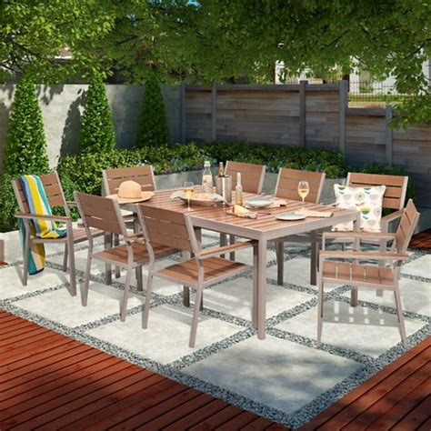 Wood Patio Dining Set Bryant 6 Person Faux Wood Patio Dining Set W 2 Target