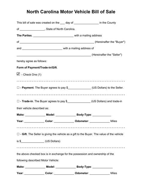 Printable Auto Bill Of Sale Nc | free north carolina motor vehicle bill of sale form pdf