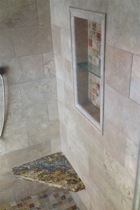 small columbus ohio bathroom remodel   colored glass