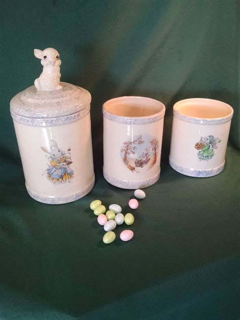 vintage kitchen canisters rabbit canisters easter bunny