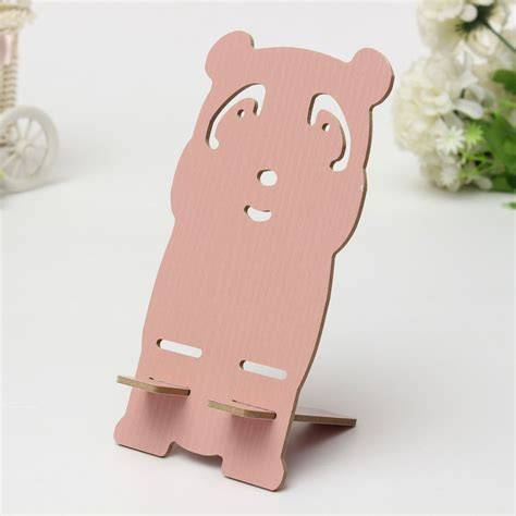 Universal Cell Phone Wood Panda Desk Stand Holder For