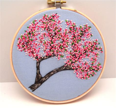 Handmade Embroidery - cherry blossoms embroidery stitched by