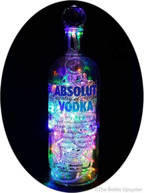 Mixing Light And Liquor by Upcycled Absolut Vodka Mood Therapy Liquor Bottle Light