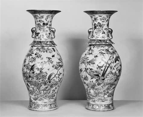 Column Vases File Chinese Pair Of Vases With Flowers Insects And