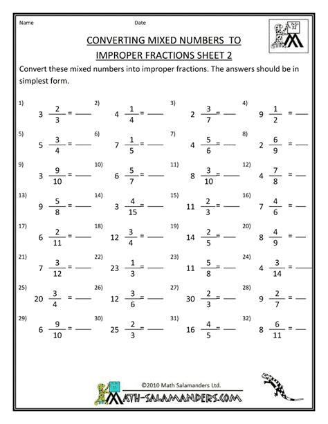 Printable Math Worksheets Fractions by Printable Fraction Worksheets Convert Mixed Numbers To