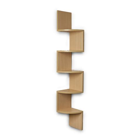 wall mount corner shelf zigzag shape bavarian beech