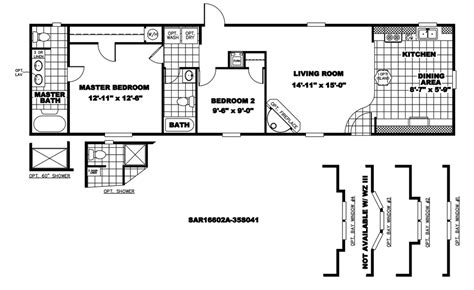 trailer house floor plans 16 x 60 mobile home floor plans mobile homes ideas