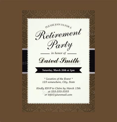 free printable retirement card template 12 retirement invitations sle templates