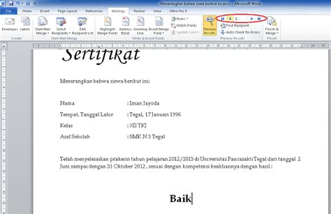 urutan membuat mail merge tutorial membuat mail merge di ms word 2010 iman jayoda