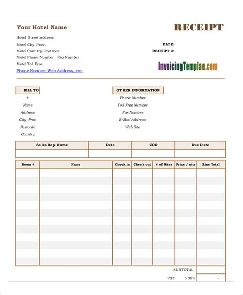 accommodation invoice template invoice hotel form excel hardhost info