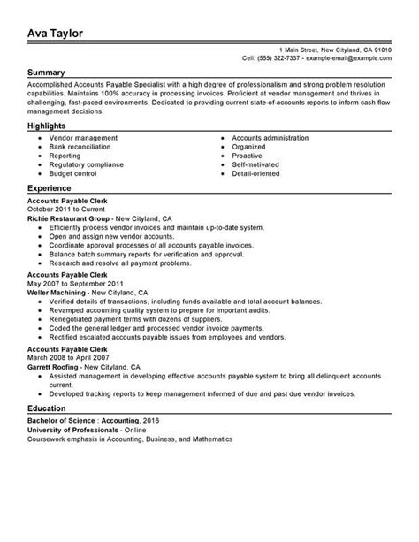 Resume Sles For Accounts Payable Specialist 17 best images about free sle resume tempalates image
