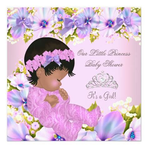 Pink And Purple Baby Shower Invitations by Princess Baby Shower Floral Pink Purple Card Zazzle
