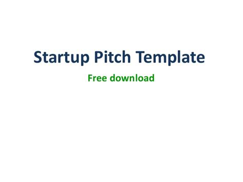 startup pitch template product startup pitch ppt template
