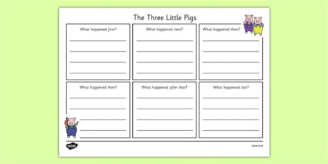 new year story writing frames the 3 pigs simple story writing frame the three