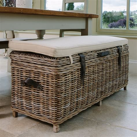 wicker bench cushions wicker storage bench with cushion