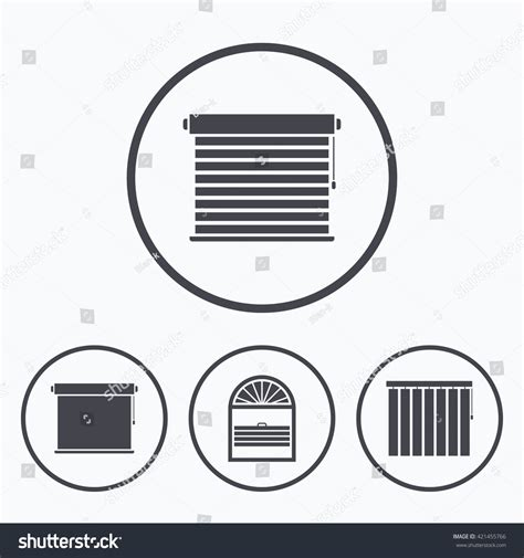 jalousie symbol louvers icons plisse rolls vertical horizontal stock