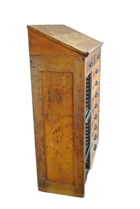 Antique Oak Letterpress Printers Cabinet at 1stdibs