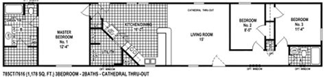 single wide mobile home floor plan view 785ct