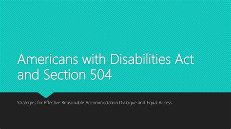 americans with disabilities act section 504 volunteer advocacy project ada presentation