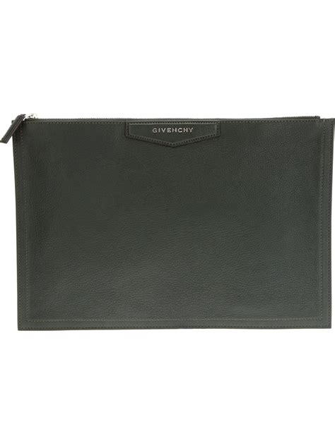 Givenchy Antigona Gunmetal Set Clutch 1 lyst givenchy antigona clutch in green