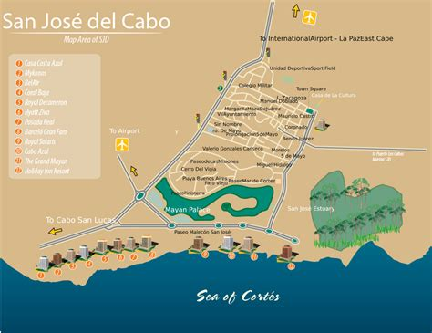 san jose mexico hotel map san jose cabo bcs mexico map