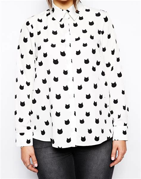 Blouse Cat by Lyst Asos Exclusive Blouse With Cat Print In