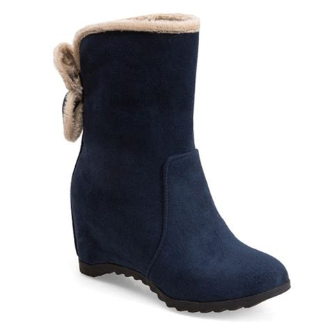 wholesale bow mid calf wedge boots 37 blue