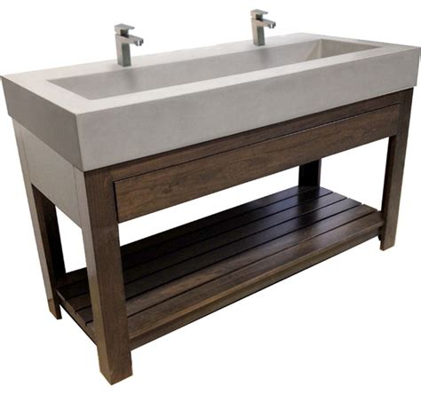 50 Inch Double Sink Bathroom Vanity Concrete Sink 48 Quot Trough Sink Contemporary Bathroom Sinks