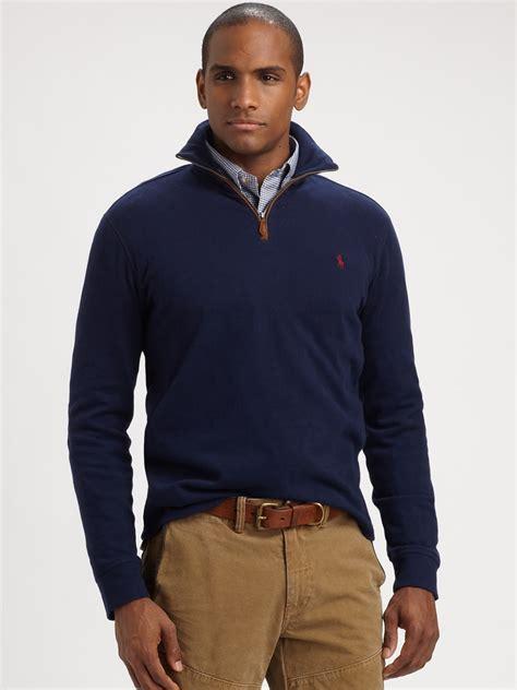 New Jaket Sweater Polos Hoodie Zipper Orange Oren polo ralph sueded jersey halfzip pullover in blue