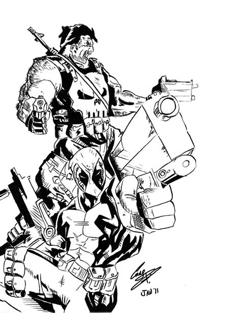 the punisher coloring book for adults books punisher and deadpool inks by armyghy on deviantart