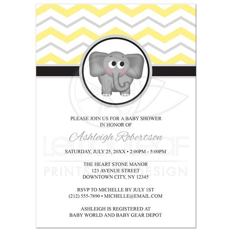Yellow And Grey Baby Shower Invitations by Baby Shower Invitations Elephant Yellow Gray Chevron
