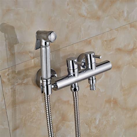 chrome brass handheld bathroom bidet shower faucet wall